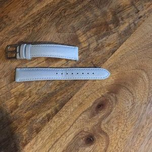 Michele leather baby blue watch band